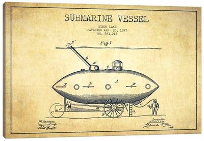 Submarine Vessel Vintage Patent Blueprint Canvas Print #ADP2664