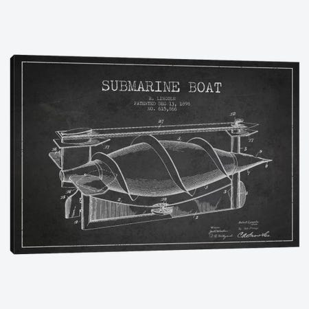 Submarine Vessel Charcoal Patent Blueprint Canvas Print #ADP2665} by Aged Pixel Art Print