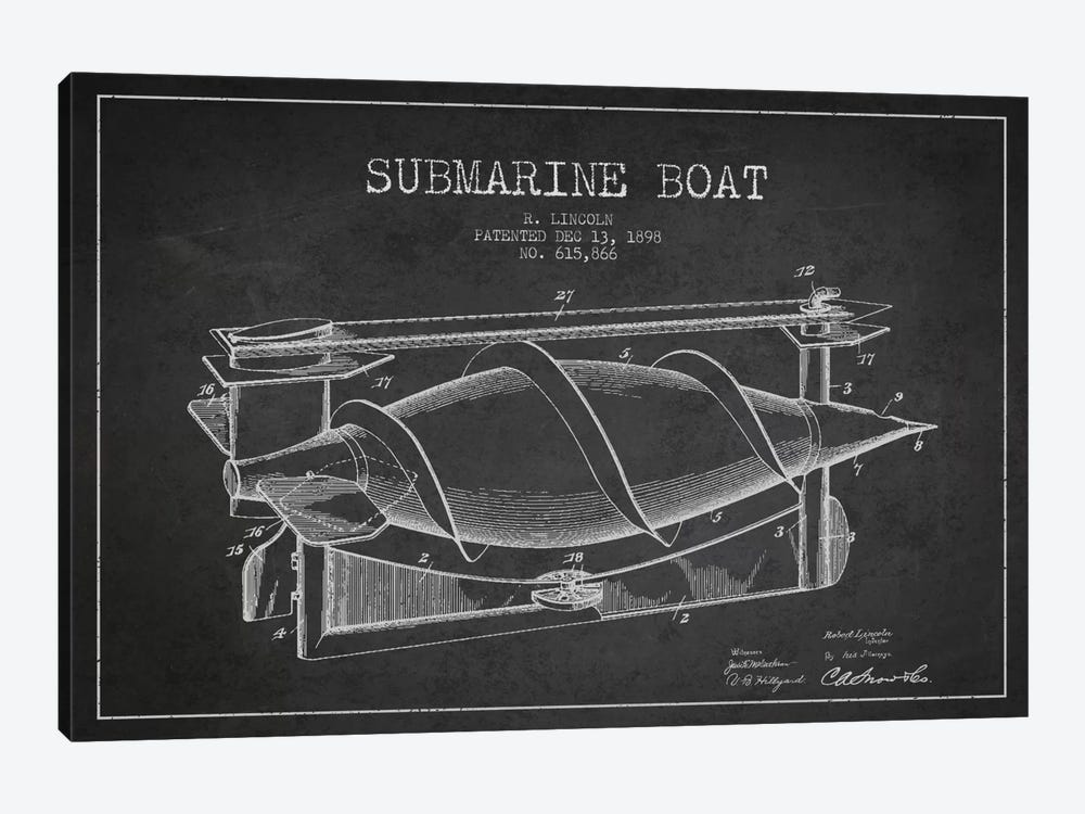 Submarine Vessel Charcoal Patent Blueprint by Aged Pixel 1-piece Canvas Art Print
