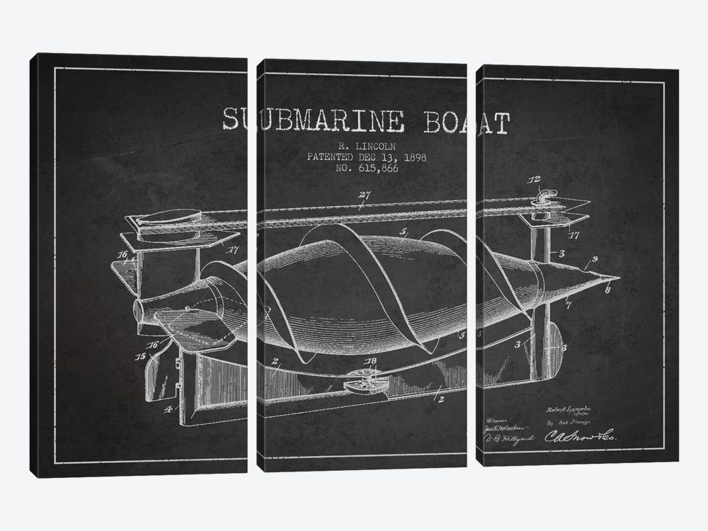 Submarine Vessel Charcoal Patent Blueprint by Aged Pixel 3-piece Canvas Art Print
