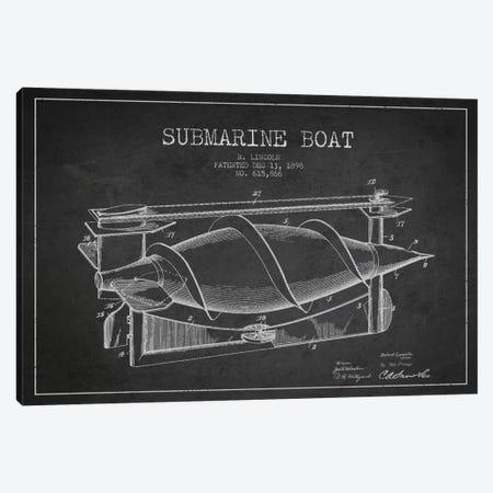 Submarine Vessel Charcoal Patent Blueprint Canvas Print #ADP2665} by Aged Pixel Art Print