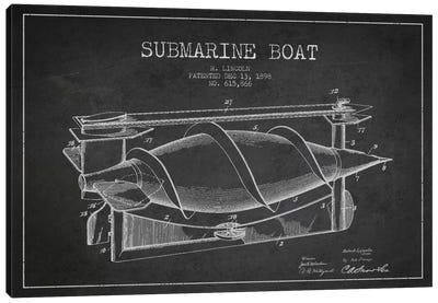 Submarine Vessel Charcoal Patent Blueprint Canvas Art Print