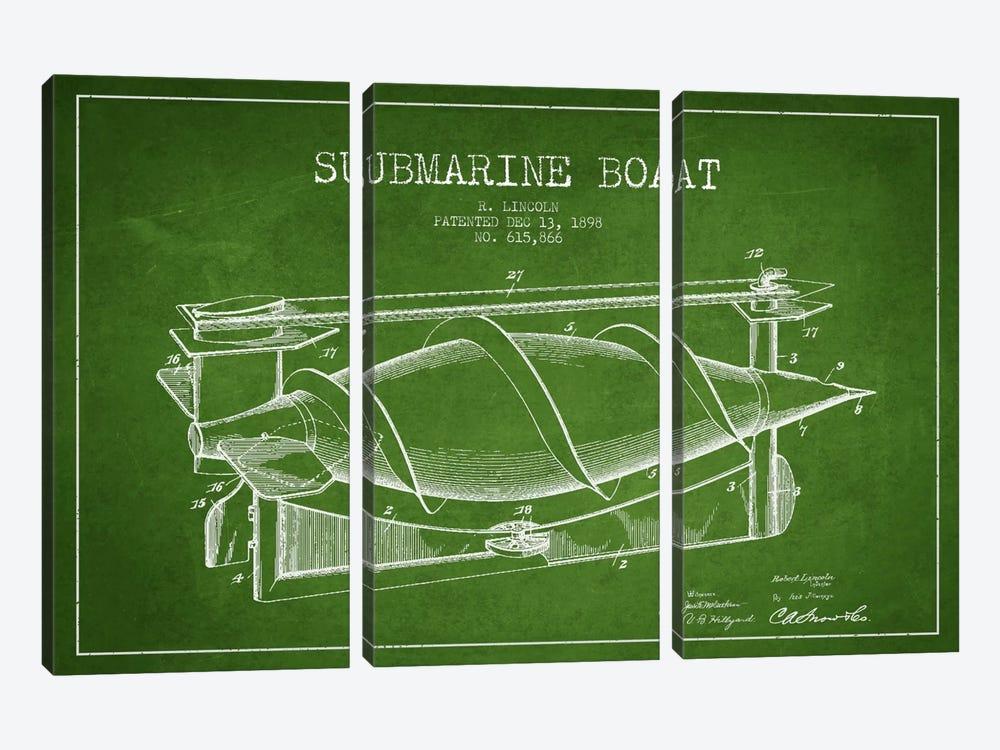 Submarine Vessel Green Patent Blueprint by Aged Pixel 3-piece Canvas Artwork