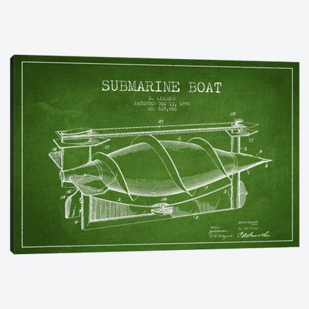 Submarine Vessel Green Patent Blueprint Canvas Print #ADP2666} by Aged Pixel Canvas Art Print