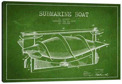 Submarine Vessel Green Patent Blueprint Canvas Print #ADP2666