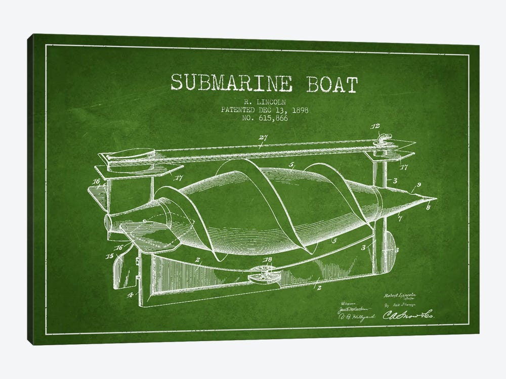 Submarine Vessel Green Patent Blueprint by Aged Pixel 1-piece Canvas Wall Art