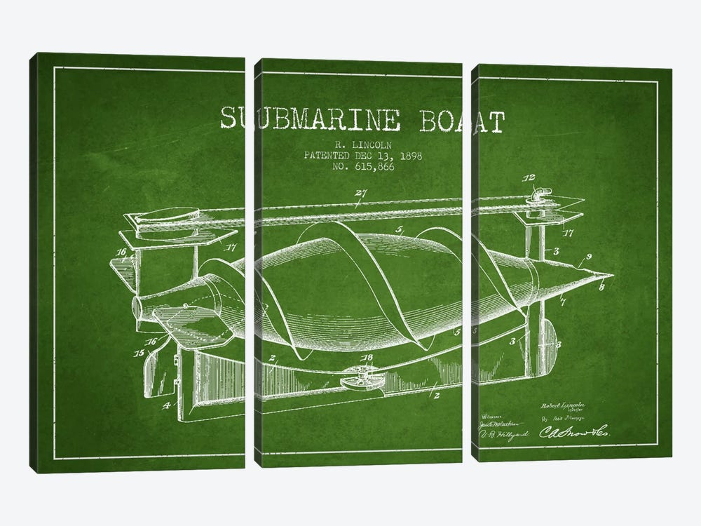 Submarine Vessel Green Patent Blueprint by Aged Pixel 3-piece Canvas Artwork
