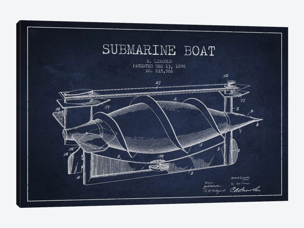 Submarine Vessel Navy Blue Patent Blueprint by Aged Pixel 1-piece Art Print