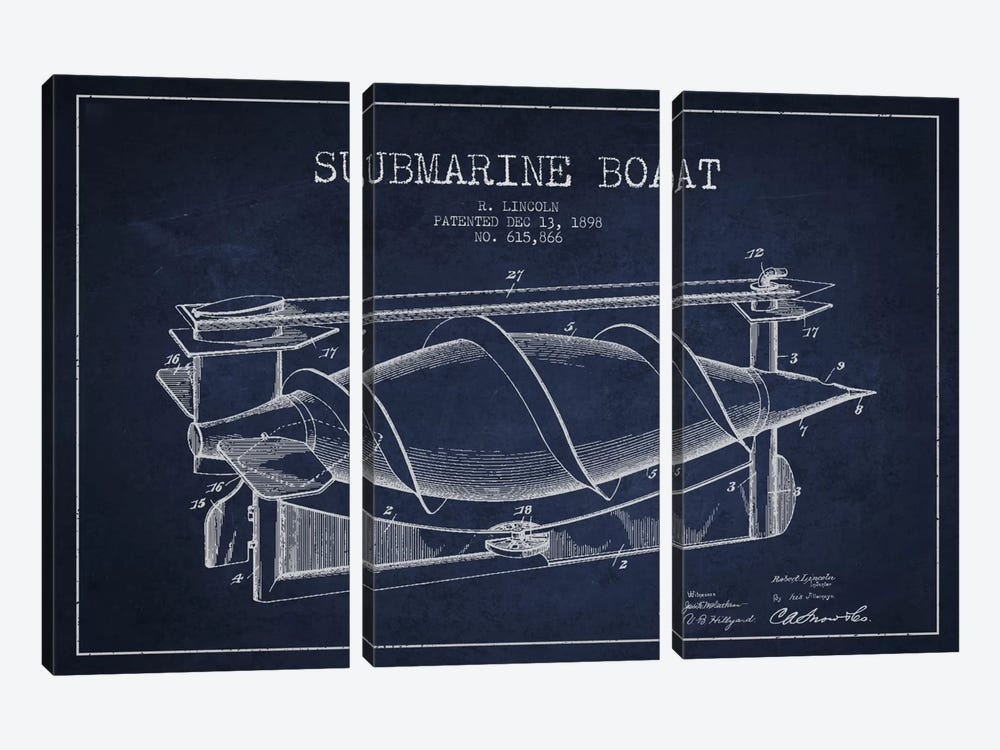 Submarine Vessel Navy Blue Patent Blueprint by Aged Pixel 3-piece Canvas Art Print