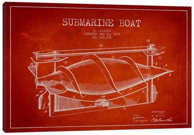 Submarine Vessel Red Patent Blueprint Canvas Print #ADP2668