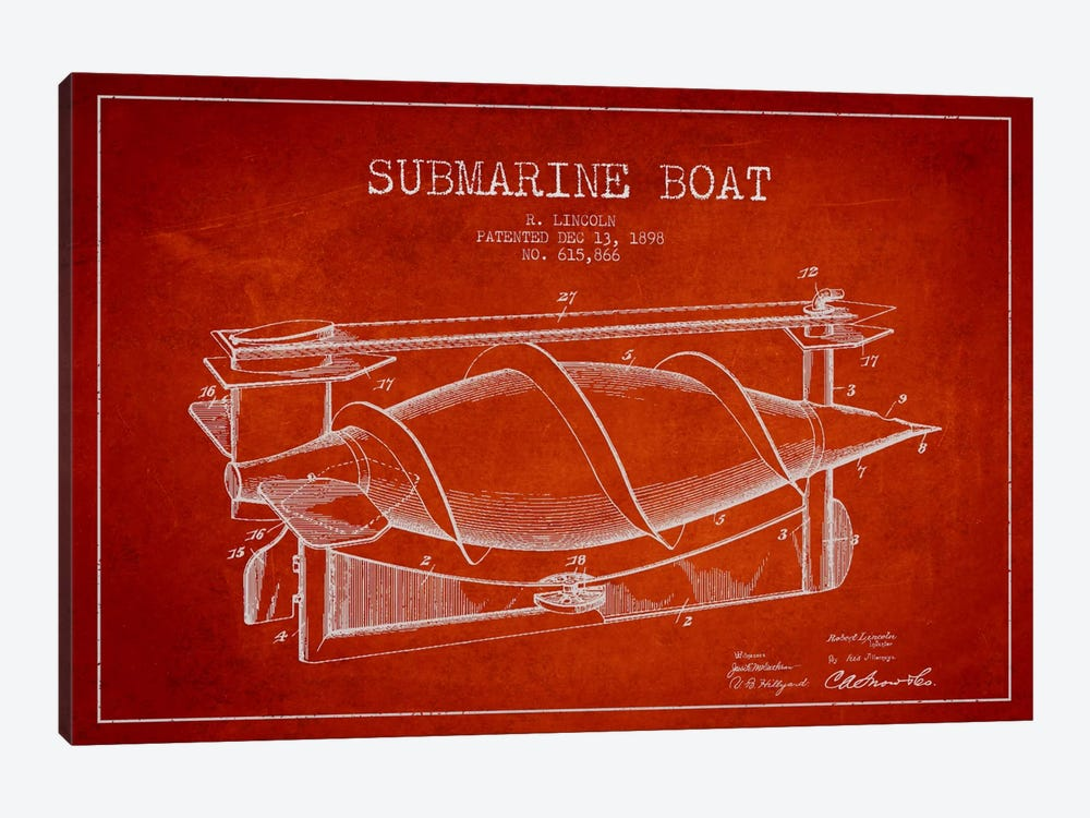 Submarine Vessel Red Patent Blueprint by Aged Pixel 1-piece Canvas Artwork
