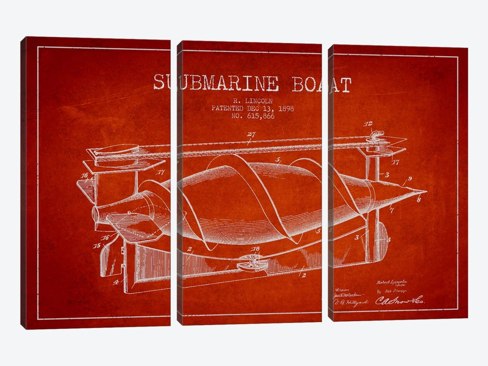 Submarine Vessel Red Patent Blueprint by Aged Pixel 3-piece Canvas Artwork