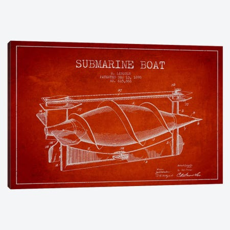 Submarine Vessel Red Patent Blueprint Canvas Print #ADP2668} by Aged Pixel Canvas Artwork