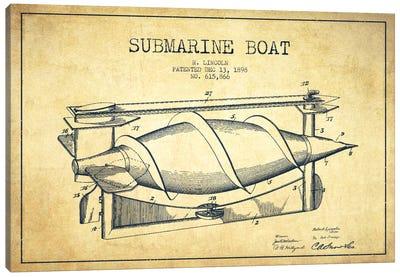 Submarine Vessel Vintage Patent Blueprint Canvas Print #ADP2669