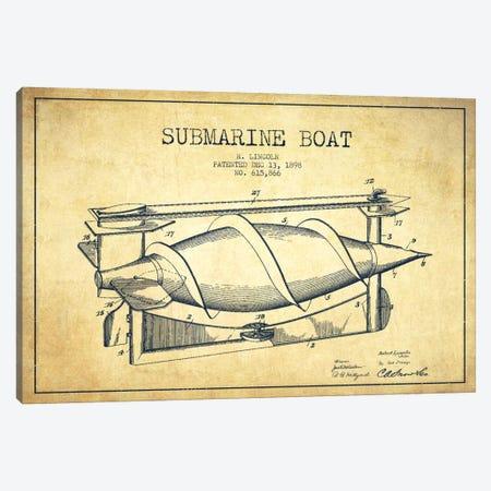 Submarine Vessel Vintage Patent Blueprint Canvas Print #ADP2669} by Aged Pixel Canvas Art