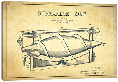Submarine Vessel Vintage Patent Blueprint Canvas Art Print