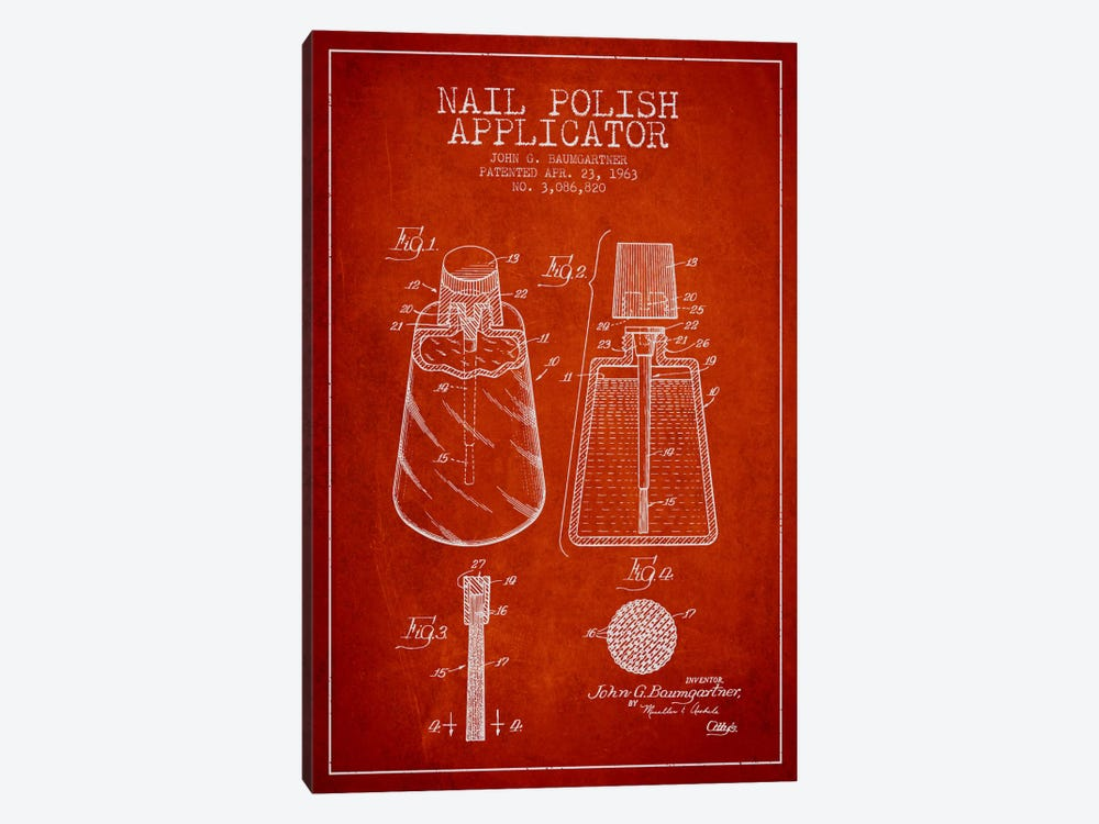 Nail Polish Applicator Red Patent Blueprint by Aged Pixel 1-piece Canvas Art