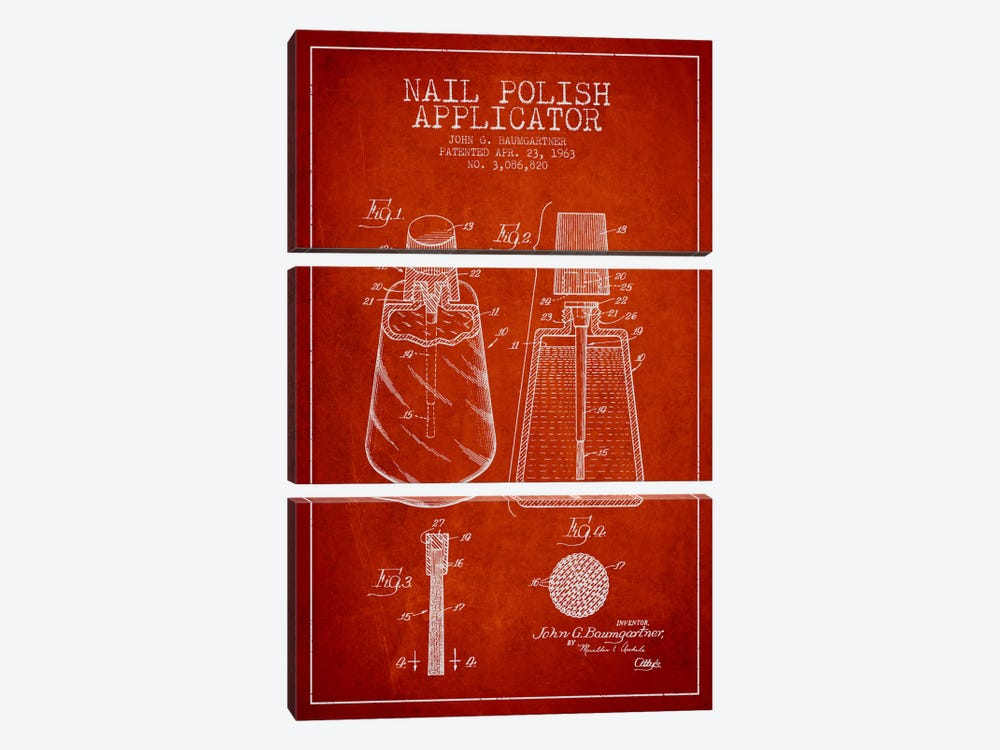 Nail Polish Applicator Red Patent Blueprint by Aged Pixel 3-piece Canvas Wall Art