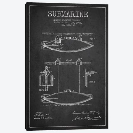Submarine Vessel Charcoal Patent Blueprint Canvas Print #ADP2670} by Aged Pixel Canvas Art Print