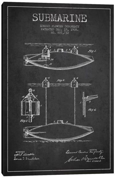 Submarine Vessel Charcoal Patent Blueprint Canvas Print #ADP2670