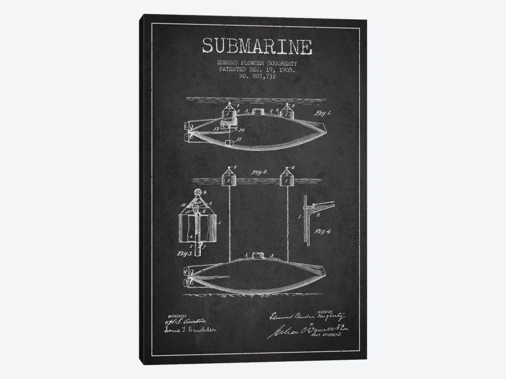 Submarine Vessel Charcoal Patent Blueprint by Aged Pixel 1-piece Art Print