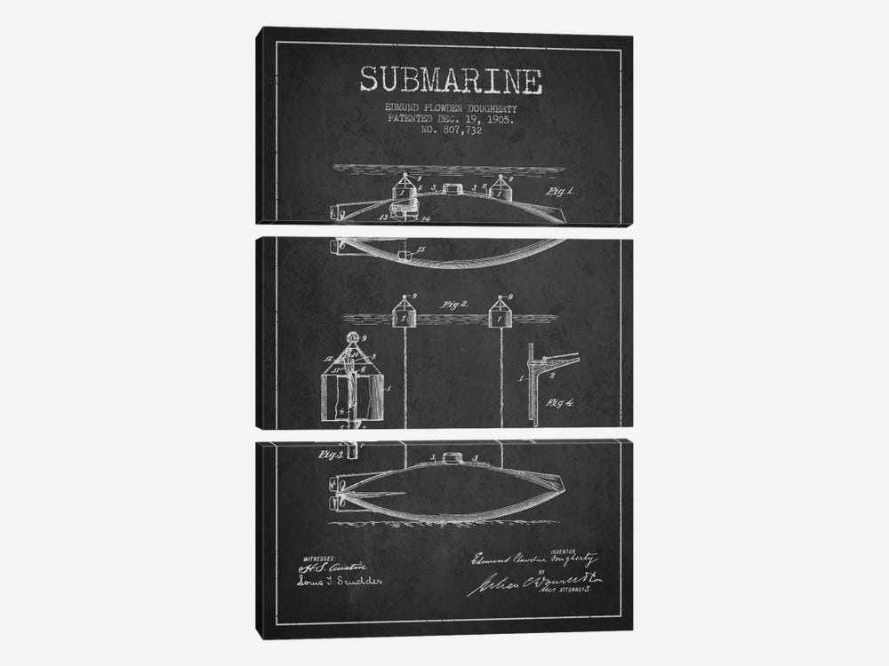 Submarine Vessel Charcoal Patent Blueprint by Aged Pixel 3-piece Art Print