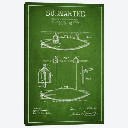 Submarine Vessel Green Patent Blueprint Canvas Print #ADP2671} by Aged Pixel Art Print
