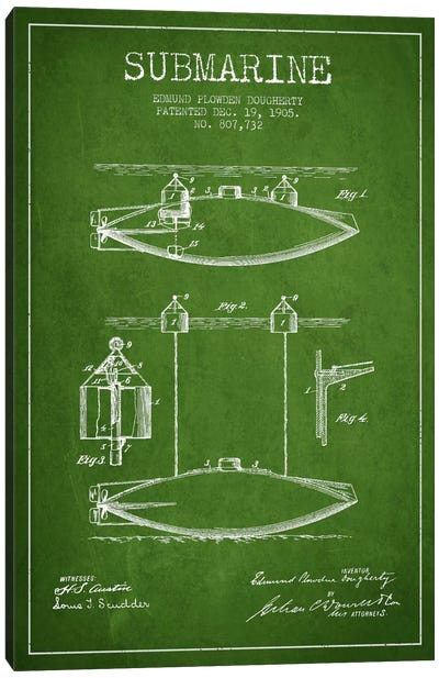 Submarine Vessel Green Patent Blueprint Canvas Print #ADP2671