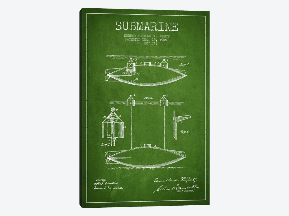 Submarine Vessel Green Patent Blueprint by Aged Pixel 1-piece Canvas Artwork