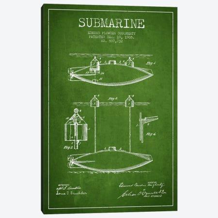 Submarine Vessel Green Patent Blueprint Canvas Print #ADP2671} by Aged Pixel Art Print