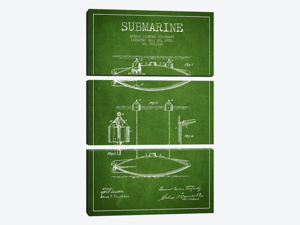 Submarine Vessel Green Patent Blueprint by Aged Pixel 3-piece Canvas Wall Art
