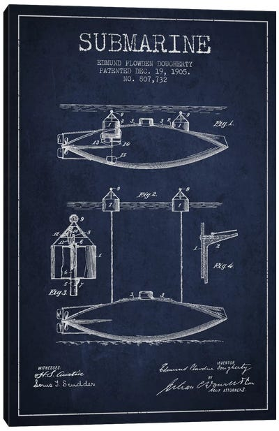 Submarine Vessel Navy Blue Patent Blueprint Canvas Print #ADP2672