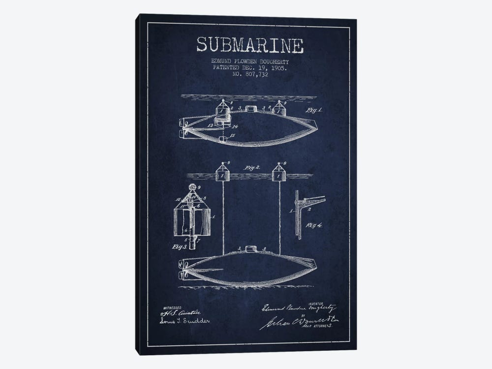 Submarine Vessel Navy Blue Patent Blueprint by Aged Pixel 1-piece Canvas Print