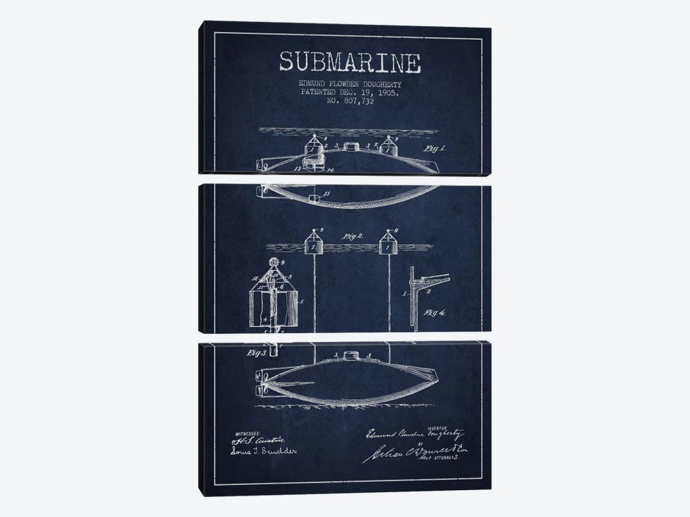 Submarine Vessel Navy Blue Patent Blueprint by Aged Pixel 3-piece Art Print