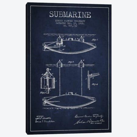 Submarine Vessel Navy Blue Patent Blueprint Canvas Print #ADP2672} by Aged Pixel Canvas Art Print
