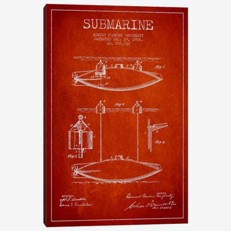 Submarine Vessel Red Patent Blueprint Canvas Print #ADP2673} by Aged Pixel Art Print