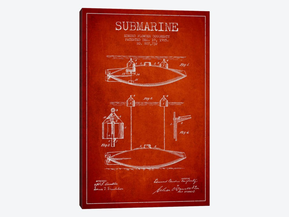 Submarine Vessel Red Patent Blueprint 1-piece Canvas Wall Art