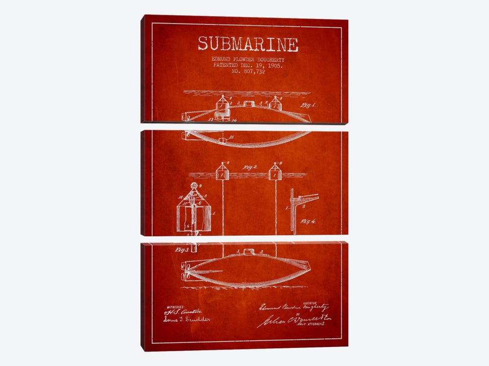 Submarine Vessel Red Patent Blueprint 3-piece Canvas Wall Art