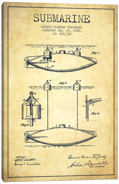 Submarine Vessel Vintage Patent Blueprint Canvas Print #ADP2674