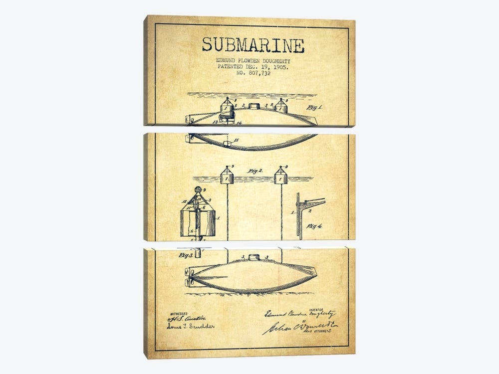 Submarine Vessel Vintage Patent Blueprint by Aged Pixel 3-piece Art Print