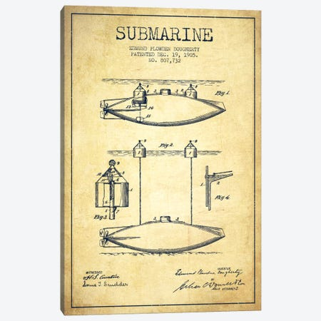 Submarine Vessel Vintage Patent Blueprint Canvas Print #ADP2674} by Aged Pixel Canvas Artwork