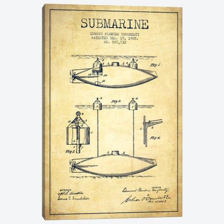 Submarine Vessel Vintage Patent Blueprint Canvas Print #ADP2674} by Aged Pixel Canvas Artwork