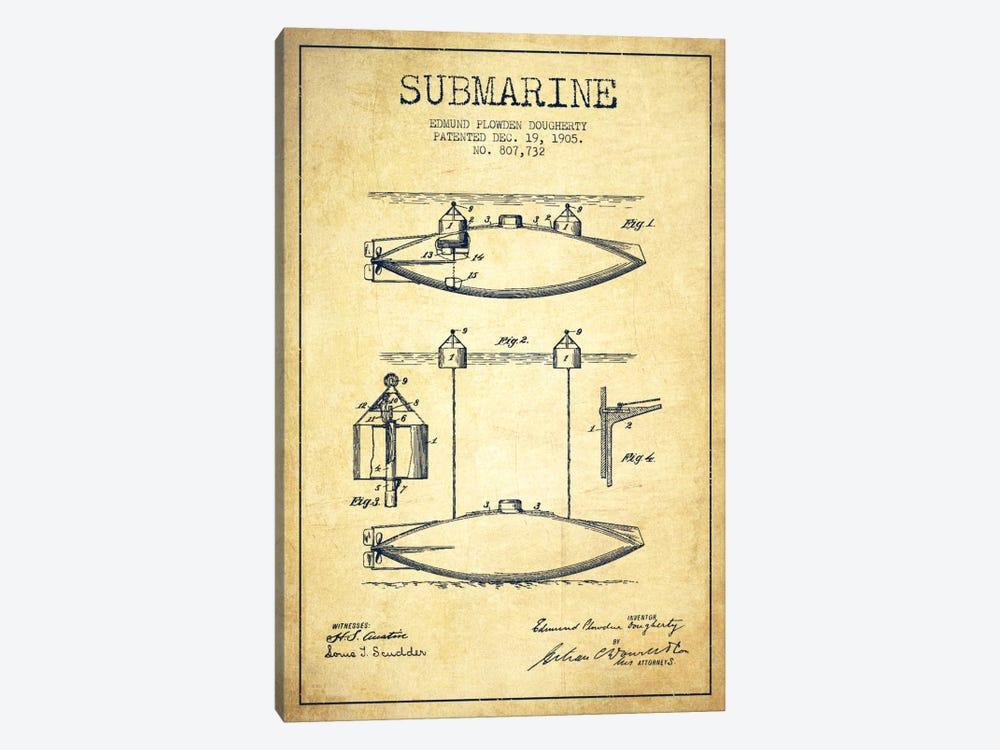 Submarine Vessel Vintage Patent Blueprint by Aged Pixel 1-piece Canvas Print