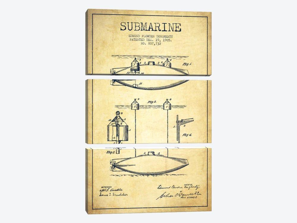 Submarine Vessel Vintage Patent Blueprint by Aged Pixel 3-piece Art Print