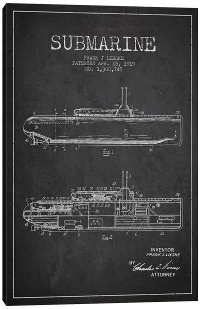 Submarine Vessel Charcoal Patent Blueprint Canvas Print #ADP2675