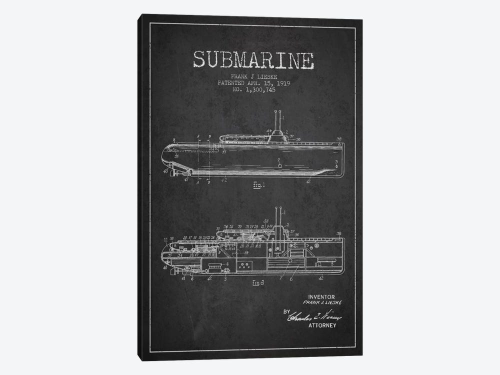 Submarine Vessel Charcoal Patent Blueprint by Aged Pixel 1-piece Canvas Artwork
