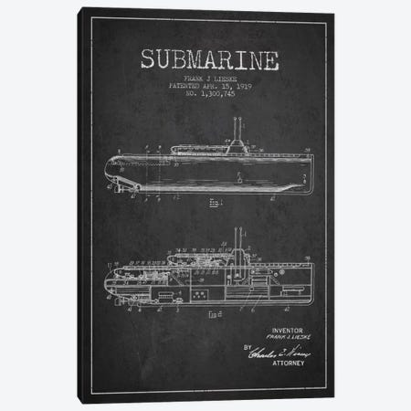 Submarine Vessel Charcoal Patent Blueprint Canvas Print #ADP2675} by Aged Pixel Canvas Wall Art