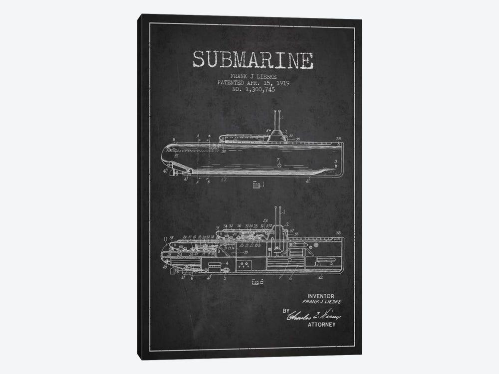 Submarine Vessel Charcoal Patent Blueprint by Aged Pixel 1-piece Canvas Artwork
