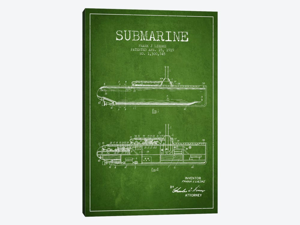 Submarine Vessel Green Patent Blueprint by Aged Pixel 1-piece Canvas Print