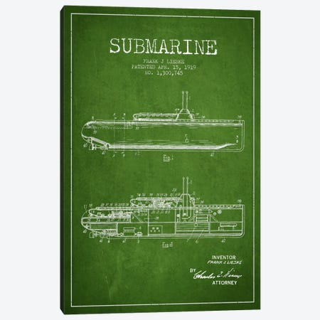 Submarine Vessel Green Patent Blueprint Canvas Print #ADP2676} by Aged Pixel Canvas Artwork
